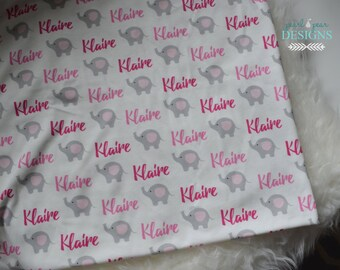 Personalized baby name elephant swaddle blanket: baby and toddler personalized name newborn hospital gift baby shower gift