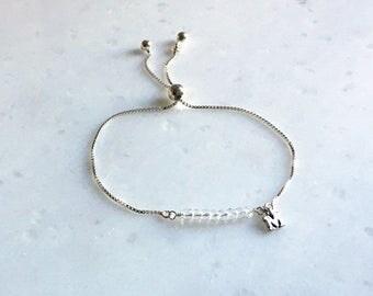 Sale, April, Crystal Quartz Bracelet, One Initial, Birthday Gemstone, Gift,  Personalized Jewelry, Adjustable, Bracelet, 17002