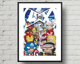 Marvel, Avengers Vs X-Men, Superhero, Digital Illustration, Print, Art Poster, Comic, Home Wall Art Decor, Birthday Gift, Christmas Gift