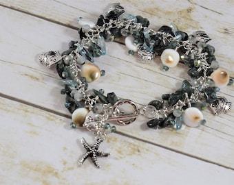 Crystal and Shell Jangle Bracelet