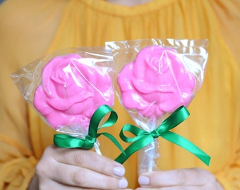 Pink Chocolate Rose Lollipops Party Favors