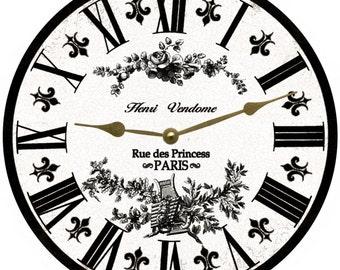 White Toile French Clock- White and Black Toile Clock