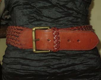 Woman's Vintage Ralph Lauren Cognac Leather Belt , Weaved Leather Braiding , Solid brass Buckle