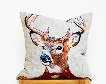 Cushion Cover, Decorative Cushion Cover, Deer, Woven, Luxury, Pillow Case, Cover  (16x16in - 40x40cm) for Home Decor
