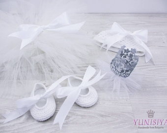 Baby Tutu set Crown of lace Ivory Tutu Crochet Ballet Slipper Set Ballerina Tutu Costume Baby Tutu Set Crochet hat Photo Prop tutu skirt