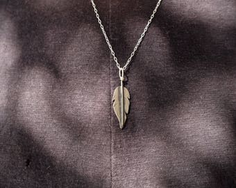 SALE - Feather Pendant Necklace - Sterling Silver