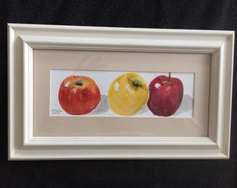 Three Apples Original Acrylic Still Life Painting