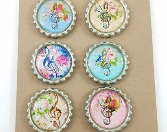 Treble Clef Music and Flowers Bottlecap Magnet Wine Charms - Set of 6
