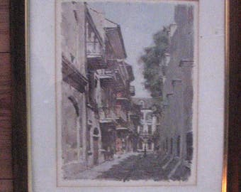 Don Davey French Quarter New Orleans 60s Color Prints Framed and Matted Chartres, Pirates Alley 14x18