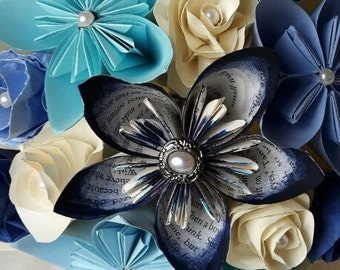 Beautiful handmade paper flower brides or bridesmaids bouquet