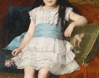 György Vastagh, 1883, Girl in White Dress, Painting, Photo Reproduction