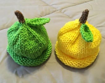 Perfect for Twins - Boy or Girl Lemon and Lime Knit Hats in Yellow and Green