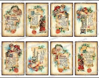 8 Vintage Grunge Vintage Victorian Santa Christmas Greetings ATC ACEO / Digital Collage Sheet Tags Images—Printable Ephemera
