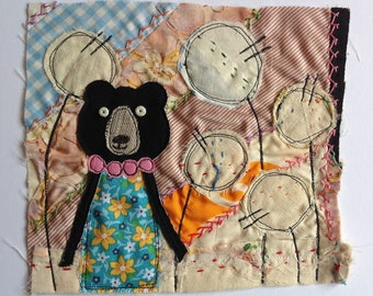 Bear and flowers  - Textile / fibre / embroidered / stitched wall art collage. Original appliqué and embroidery.