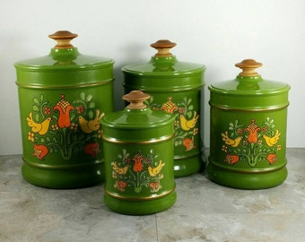 SALE! Vintage Kromex 70's Green Metal 4 Piece Canister Set with Flowers and Birds