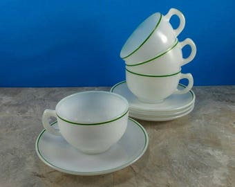 Vintage Hazel Atlas Moderntone Platonite Milk Glass with Green Stripe Saucer and Mug Set