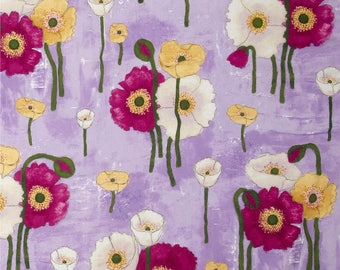 Poppies fabric by the yard by Michael Miller - Gathered Poppies fabric - flower fabric - purple fabric - poppy fabric - #17063