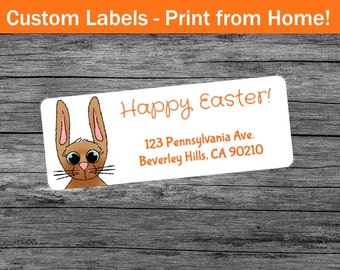 Easter Bunny Custom Return Address Labels  - Print From Home