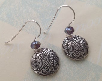Handcrafted PMC Silver Earrings Artisan Jewelry