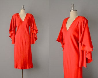 70s Dress // 1970's Halston Red Bias-Cut Silk Crepe Satin Dress // M - L