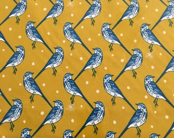 Birds and Bees Laminated Cotton Echino Kokka Japan