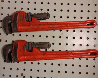 RIDGID Vintage Heavy Duty 14 Inch Pipe Wrench Pipe Wrenches Set of Two All Original Made In U.S.A.