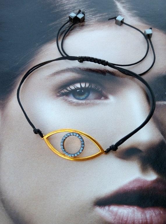 Evil eye macrame bracelet, eye gold plated silver 925 with zircon macrame bracelet, macrame adjustable eye bracelet, gift for her, gift