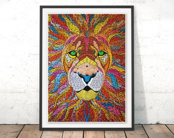 Lion Illustration, Lion Art, Lion Art Print with Frame, Lion Gift For New Home Decor, Lion Poster Drawing Nursery Room Wall Decor by Paul
