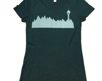 Seattle Treeline-T-Shirt-Womens-Bella Canvas Swoop Neck Tee-cool, shirts, unique gifts, nature, artwork, hand printed, Skyline-Washington