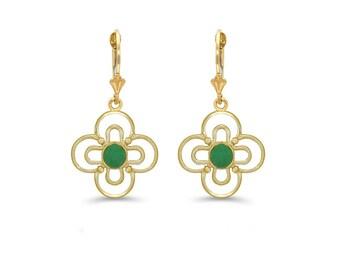 14k solid gold genuine emerald clover earrings, floral emerald earrings
