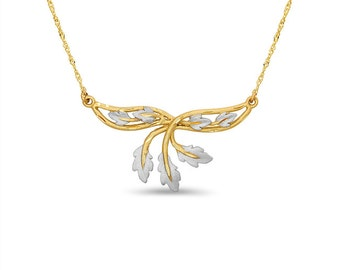 14k solid gold two tone leaf necklace. floral jewelry