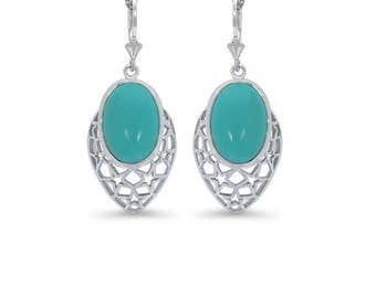 Sterling Silver Turquoise lever back earrings. turquoise jewelry.