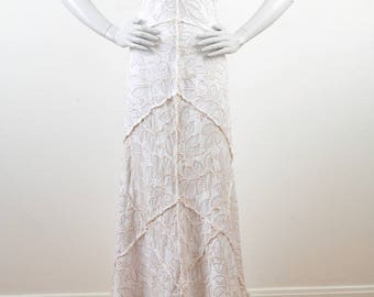 1990's Project Alabama Deconstructed Hand Sewn Embroidered White Upcycled Cotton Bridal Hippie Chic