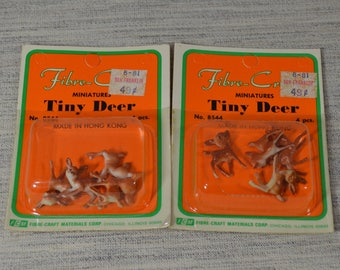 Vintage Tiny Deer Diorama Miniatures by Fibre Craft made in Hong Kong