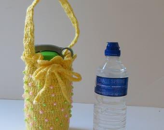 Crochet Water Bottle Bag, Water Bottle Holder, Water bottle carrier, Cozy, Drink Bottle Tote, Drink bottle holder, School Water Bottle Bag