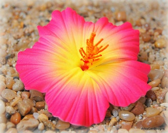 New! Pink & Yellow Hibiscus Hair Clip, Hawaiian hair flower, Tropical, Realistic, Hula, Beach Wedding, Luau, With FREE Mini Plumeria clip