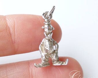 Antique Tiny 3D Clown Sterling Silver Charm Miniature Jewel Pendant