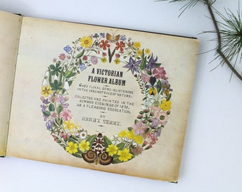 Vintage 1978, 1st edition A Victorian Flower Album by Henry Terry, botanical prints for crafts or reference