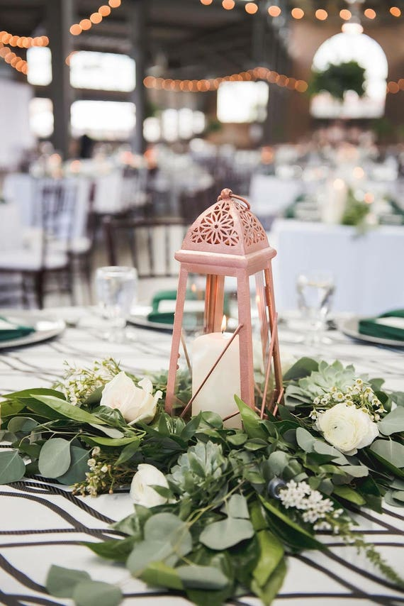 Wedding rose gold morocco lantern pink candle holder