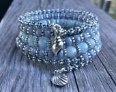 Beachy Blues Multi Coil Memory Wire Bracelet with Aquamarine Gemstones