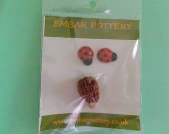 Ceramic hedgehog and ladybird pack