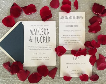 Navy and White Wedding Invitations / Printable Wedding Invitations