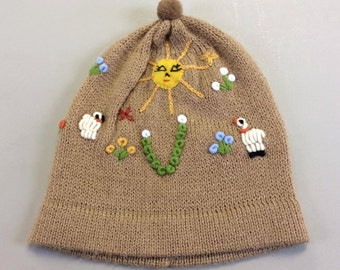 Beautiful baby alpaca hat,hand embroidered beanie,soft and warm alpaca beanie hat,My Peruvian treasures,Peruvian embroidered hat,fawn hat