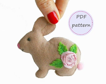 Felt Bunny, Bunny Pattern, Felt Pattern, Felt Bunny Pattern, Felt Rabbit, Felt Easter, Easter Pattern, Easter Bunny, Easter Ornament