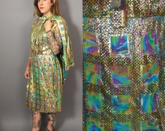 1960s Dress / Shiny Gold Dress / Trippy Dress with Jacket / Vintage Sheath Dress / Gold Sheath Dress / 1960s Party Dress and Jacket