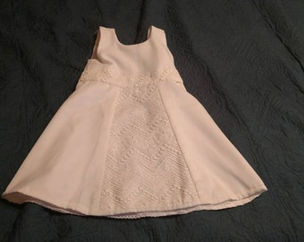 18M  White dress with lace Handmade