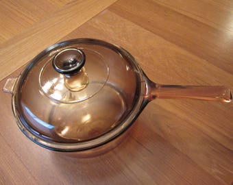 Pyrex Corning Large Visions Vision Cookware Amber 2.5 L Sauce Pan with Lid