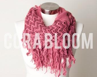 SCARF, Infinity Scarf, Tassel Scarf, Blue Tassel Scarf, Pink Scarf, Knit Scarf, Fashion Scarf, Winter Scarf, Scarfs, Scarves, Fashion