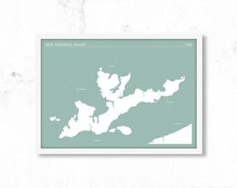 Moonrise Kingdom Movie Poster Print - New Penzance Island Map