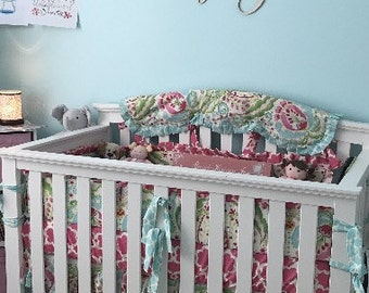 Deal Of The Day***Kumari garden Full 5 piece complete crib bedding set made to order!!!